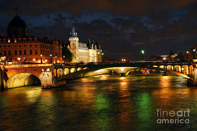 Illuminated Photograph - Nighttime Paris by Elena Elisseeva
