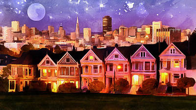 Nighttime Sf          Art Print by Anthony Caruso