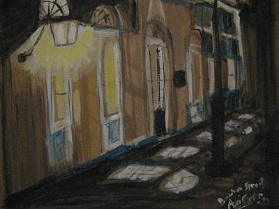 Night Lamp Painting - Nightwalk At French Quarter by Agata Suchocka-Wachowska