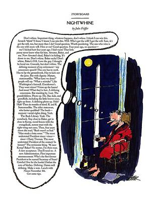 President Bush Drawing - Nightwhine by Jules Feiffer