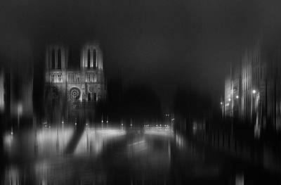 Notre Dame Photograph - Nigth - Catha?drale Notre Dame by Sol Marrades