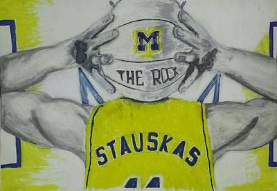 University Of Michigan Drawing - Nik Stauskas by Tyrone Scott
