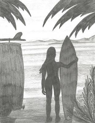 Surfing Drawing - Niki by Ray Ratzlaff