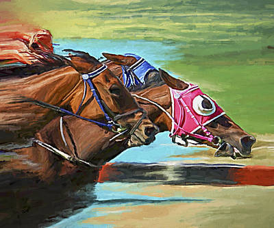 Race Horse Painting - Nikita By A Head by David Wagner