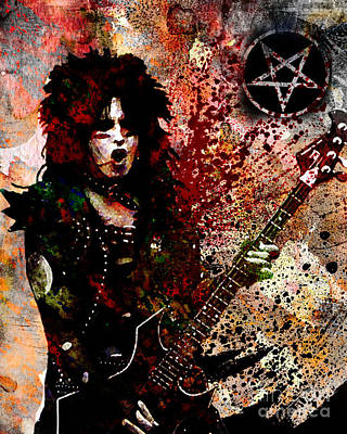 80s Painting - Nikki Sixx - Motley Crue  by Ryan Rock Artist