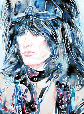 Motley Crue Painting - Nikki Sixx Watercolor Portrait by Fabrizio Cassetta