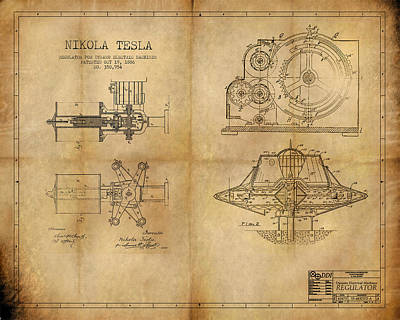 Nikola Telsa's Work Art Print by James Christopher Hill