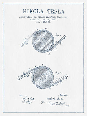 Nikola Tesla Dynamo Patent Drawing From 1886 - Blue Ink Art Print