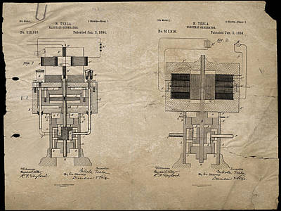 Digital Art - Nikola Tesla's Electrical Generator Patent 1894 by Paulette B Wright