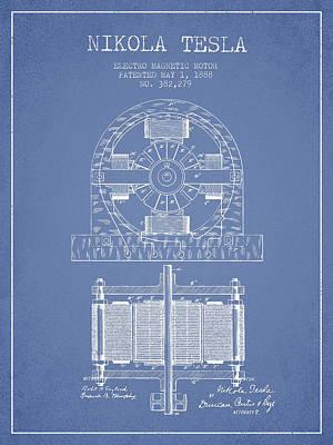 Nikola Tesla Electro Magnetic Motor Patent Drawing From 1888 - L Art Print