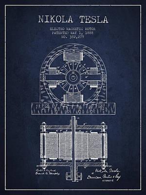 Nikola Tesla Electro Magnetic Motor Patent Drawing From 1888 - N Art Print