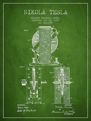 Nikola Tesla Electro Magnetic Motor Patent Drawing From 1889 - G Art Print