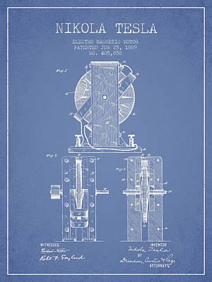 Nikola Tesla Electro Magnetic Motor Patent Drawing From 1889 - L Art Print