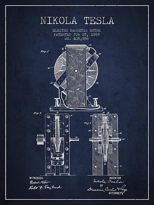 Nikola Tesla Electro Magnetic Motor Patent Drawing From 1889 - N Art Print