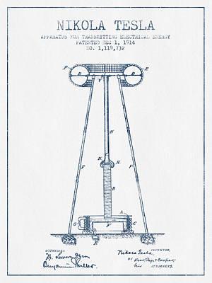 Nikola Tesla Energy Apparatus Patent Drawing From 1914  - Blue I Art Print