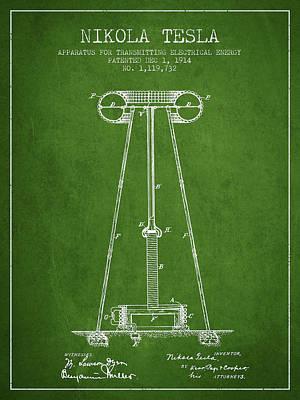 Nikola Tesla Energy Apparatus Patent Drawing From 1914 - Green Art Print