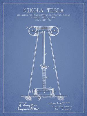 Nikola Tesla Energy Apparatus Patent Drawing From 1914 - Light B Art Print
