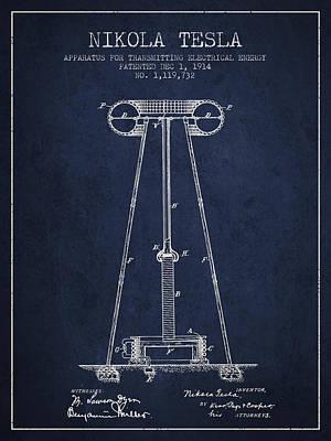 Nikola Tesla Energy Apparatus Patent Drawing From 1914 - Navy Bl Art Print