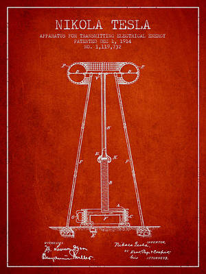 Nikola Tesla Energy Apparatus Patent Drawing From 1914 - Red Art Print