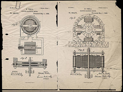 Digital Art - Nikola Tesla's Magnetic Motor Patent 1888 by Paulette B Wright