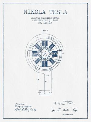 Nikola Tesla Motor Patent Drawing From 1889 - Blue Ink Art Print