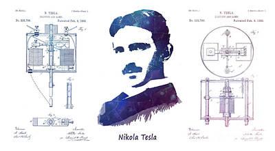 Mick Jagger - Nikola Tesla patent art Electric Arc Lamp by Justyna Jaszke JBJart