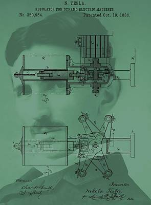 Wires Mixed Media - Nikola Tesla Patent by Dan Sproul