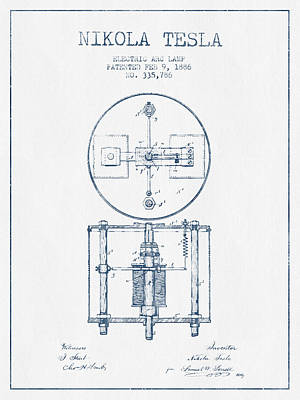 Nikola Tesla Patent Drawing From 1886 - Blue Ink Art Print
