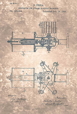 Painting - Nikola Tesla Patent Drawing From 1886  by Celestial Images