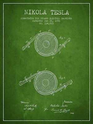 Nikola Tesla Patent Drawing From 1886 - Green Art Print