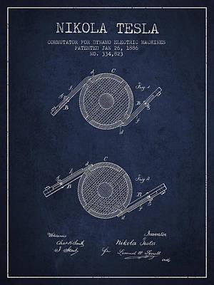 Nikola Tesla Patent Drawing From 1886 - Navy Blue Art Print