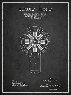 Nikola Tesla Patent Drawing From 1889 - Dark Art Print