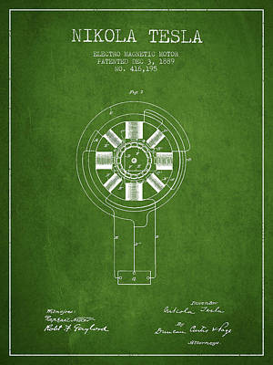 Nikola Tesla Patent Drawing From 1889 - Green Art Print