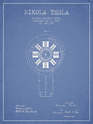 Nikola Tesla Patent Drawing From 1889 - Light Blue Art Print by Aged Pixel