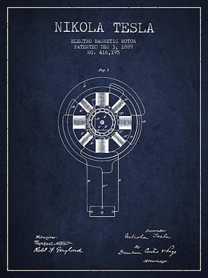 Nikola Tesla Patent Drawing From 1889 - Navy Blue Art Print