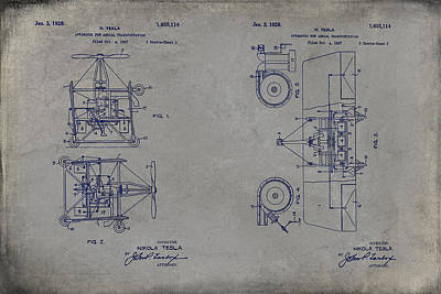 Drawing - Nikola Tesla's Aerial Transport Patent 1928 Grunge Gray by Paulette B Wright