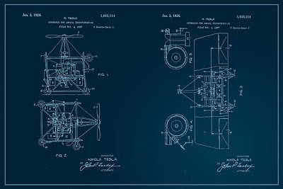 Digital Art - Nikola Tesla's Aerial Transport Patent 1928 by Paulette B Wright