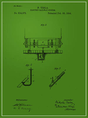 Digital Art - Nikola Tesla's Electric Railway Patent 1894 by Paulette B Wright