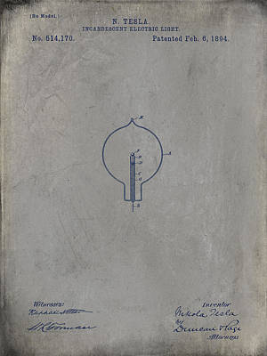 Drawing - Nikola Tesla's Incandescent Electric Light Patent 1894 - Grunge by Paulette B Wright