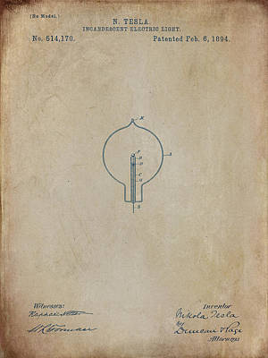 Digital Art - Nikola Tesla's Incandescent Electric Light Patent 1894 Aged by Paulette B Wright