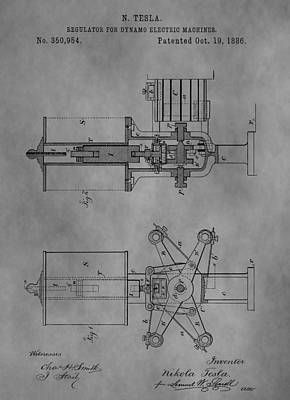 Electricity Drawing - Nikola Tesla's Patent by Dan Sproul