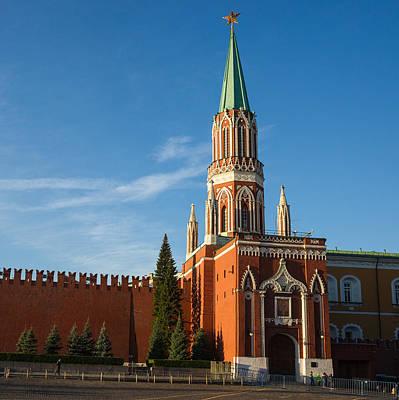 Nikolskaya - St. Nicholas - Tower Of The Kremlin - Square Art Print by Alexander Senin