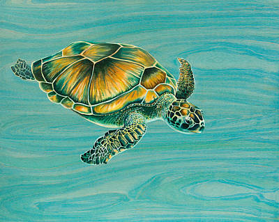 Hawaii Sea Turtle Painting - Nik's Turtle by Emily Brantley