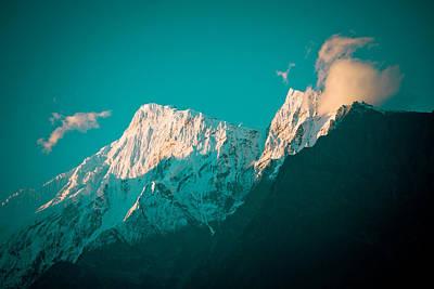 Mukti Photograph - Nilgiri Mountain In Himalayas With Cloud by Raimond Klavins