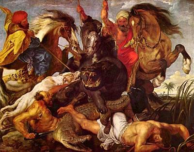 Hippopotamus Digital Art - Nilpferdjagd by Peter Paul Rubens