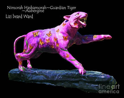 Mixed Media - Nimorah Hashamorah Guardian Tiger University Of Memphis by Lizi Beard-Ward