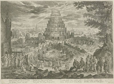 Work Place Drawing - Nimrod Orders The Building Of The Tower Of Babel by Jan Van Londerseel And Claes Jansz. Visscher (ii) And Nicolaes Visscher (i)