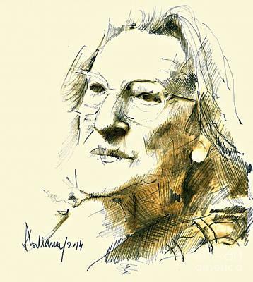 Drawing - Nina Cassian Portrait by Daliana Pacuraru