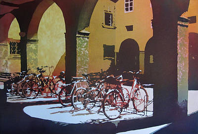 Wisconsin Artist Painting - Nine Bicycles by Kris Parins