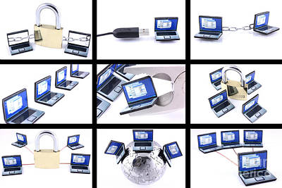 Nine Computer Images On White Background Art Print by Simon Bratt Photography LRPS